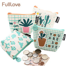 FullLove 2 Pcs/Set Cute Kids Wallet Mini Canvas Cactus Money Storage Bag Zip Lock Coin Purse Cosmetics Keys Pouch Home Storage(China)