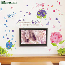 YunXi Hydrangea Plant Stickers Bedroom Living Room Bathroom Cabinet TV Background Decorative PVC Wall Stickers 135*95CM(China)
