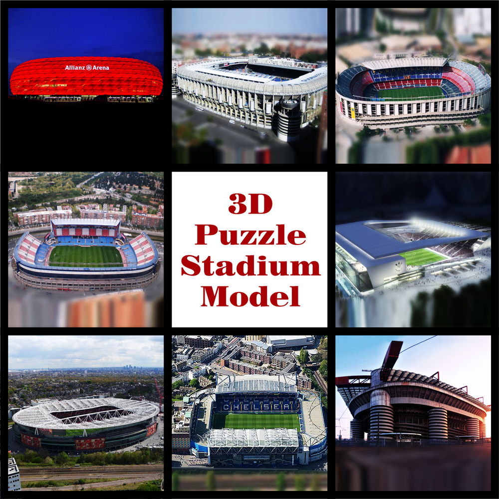 New clever&amp;happy 3D puzzle  model real photo Soccerfootball  souvenir adult  diy paper satdium toys Chrismas  Halloween Gift<br>