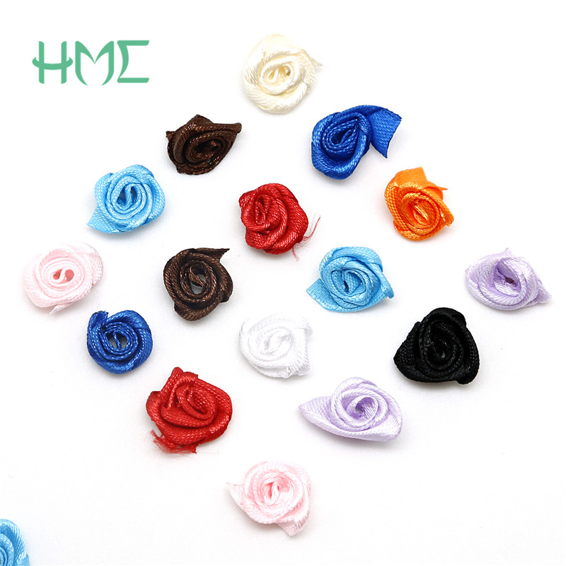 15mm Satin Ribbon Roses Craft Bows Mini Size Artificial Silk Flowers