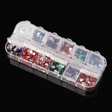 New adjustable plastic 12 compartment empty plastic storage case container box for nail art products rhinestone earring jewelry