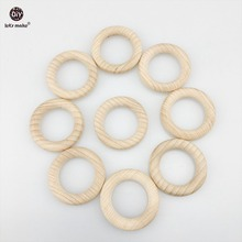 Let's Make Beech Wooden 50pc Round Wood Ring 40mm Baby Teether DIY Bracelet Crafts Gift Teething Accessory Nursing Bangles
