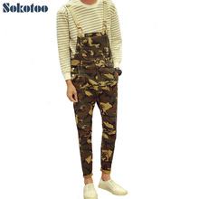 Sokotoo Men's fashion army camouflage slim bib overalls Casual pockets denim jeans Jumpsuits(China)
