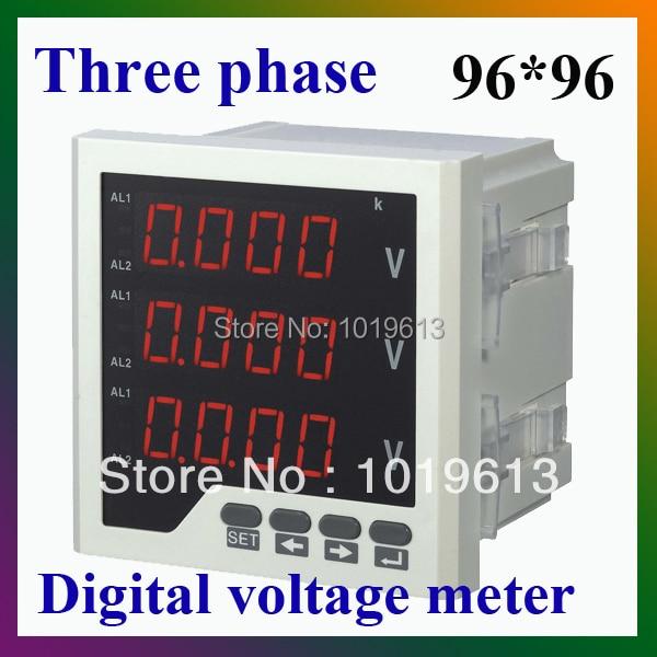 three phase LED digital voltmeter ac voltage voltmeter digital<br>