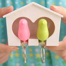 New Exquisite Sparrow Key Ring Keychain with Whistle Birdhouse Holder Metal Key Chain for The Lovers Girls Home House Decoration(China)