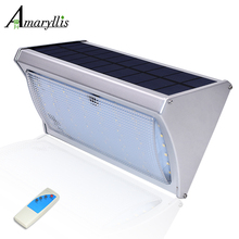 Microwave Radar Motion Sensor Solar Light 56 LED Super Bright 800lm Remote Control Three Modes Outdoor Garden Wall Lamp(China)
