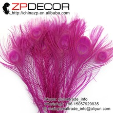 ZPDECOR 50pcs/lot 25-30cm(10-12inch) Hand Select Factory Wholesale Hot Pink Dyed Peacock Feather For Wedding Party Decoration