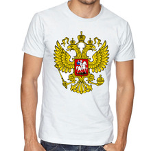 Russian Soviet Of Arms Cotton T shirt Men Symbolism Of The Russia Federation Elements Emblem Empire T-Shirt cccp Communist Tops(China)