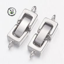 Platinum Brass Watch Band Clasps, Fold Over Clasps, Cadmium Free & Nickel Free & Lead Free, 27x7x4mm, Hole: 1mm(China)