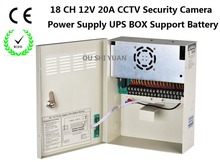 CCTV 18Channel AC 100-240V Input DC12V 20A UPS Box Power Supply Support Battery CE ROHS For CCTV Camera