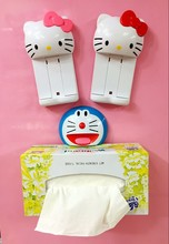 Household hello kitty sucker towel clip Creative Strength Seamless Wall Suction Tissue Toilet Paper Holder Rack Bathroom Kitchen