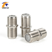 New & Practical 50 Pcs F Type UHF Adapter Connector Female F/F Jack RG6 Coaxial Cable connector terminals(China)