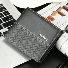 Top Brand Baellerry Men Plaid Short Wallet Woven Pattern Coin Purses Male PU Leather Money Billfold Pocket Credit Card Holders