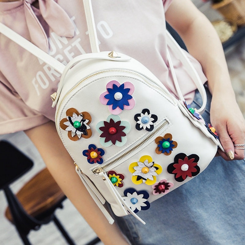2017 new fashion summer floral women backpack female PU leather back bag flower printing beige school bag young teenager 619 <br><br>Aliexpress