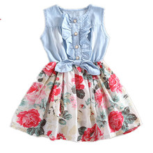 INS Summer Girl Jeans Chiffon Ruffles Floral Princess Dress Kids Girls Flower Dresses Toddler Girl Clothes 2-7 years