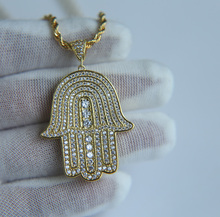 high quality 2017 Luxury silver gold micro pave hamsa hand with rope chain AAA+ Cubic zirconia women men bling hiphop necklace