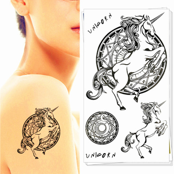 Единорог Pegasus Лошади Временные Татуировки Боди-Арт Рука Флэш Татуировки Наклейки 17*10 см Водонепроницаемый Поддельные Хна Безболезненно Татуировки стикер
