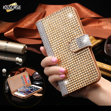 KISSCASE For iPhone 6 6S Plus Luxury Diamond Skin Stand Flip Leather Case For iPhone 6 6S 6 Plus 6S Plus Card Slot Wallet Cover