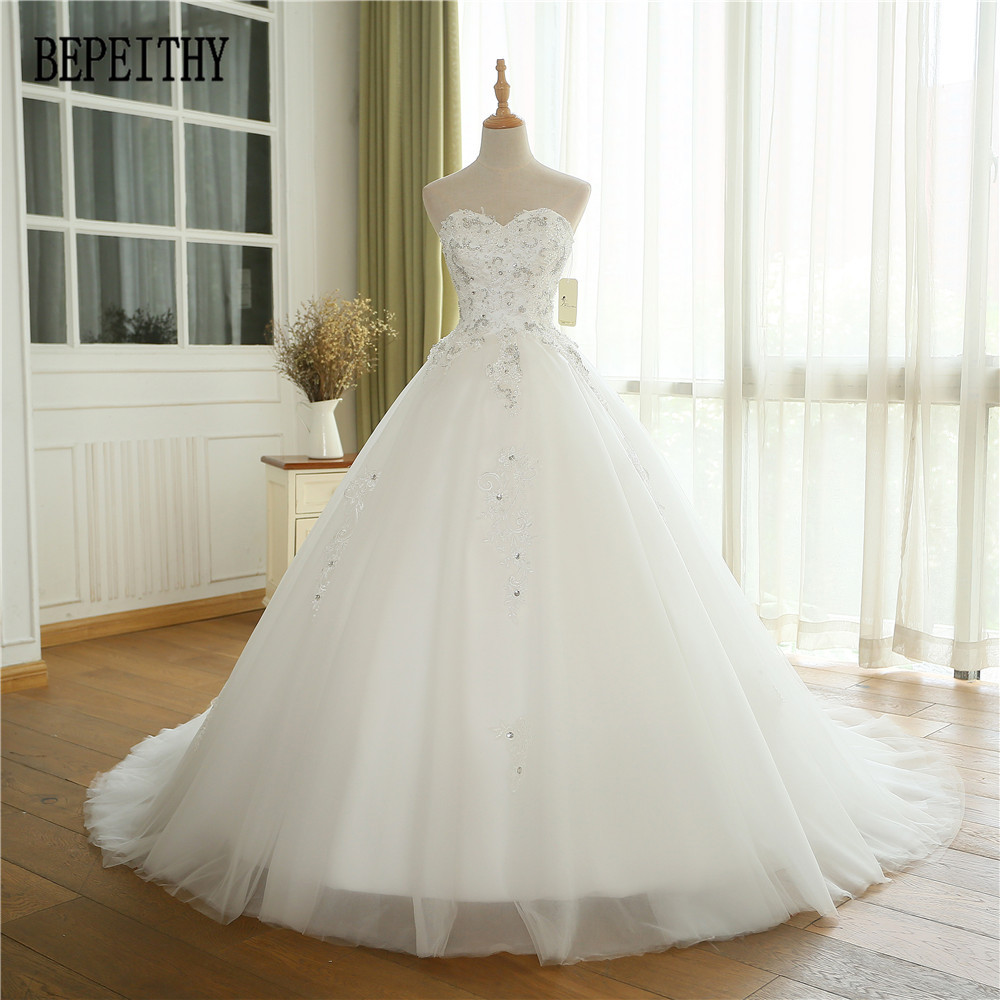 BEPEITHY Real Photo Elegant Vestidos De Noiva New Arrival Saudi Arabia Luxury Lace Sweetheart Ball Gown Wedding Dresses 2019