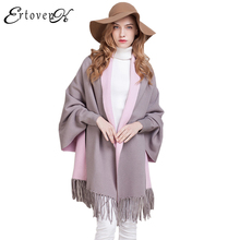Loose Women Knit Cardigan Jacket New Autumn 2017 Shawl Sweater Coat Cloak Fashion Outerwear Plus Size Double-sided Clothes LH229(China)