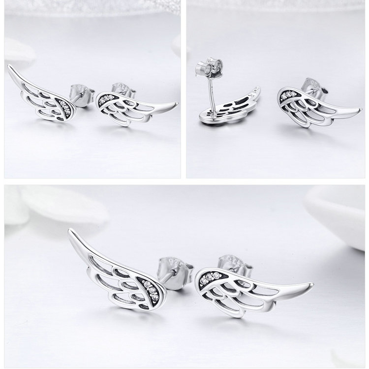 925 Sterling Silver Fairy Wings Stud Earrings