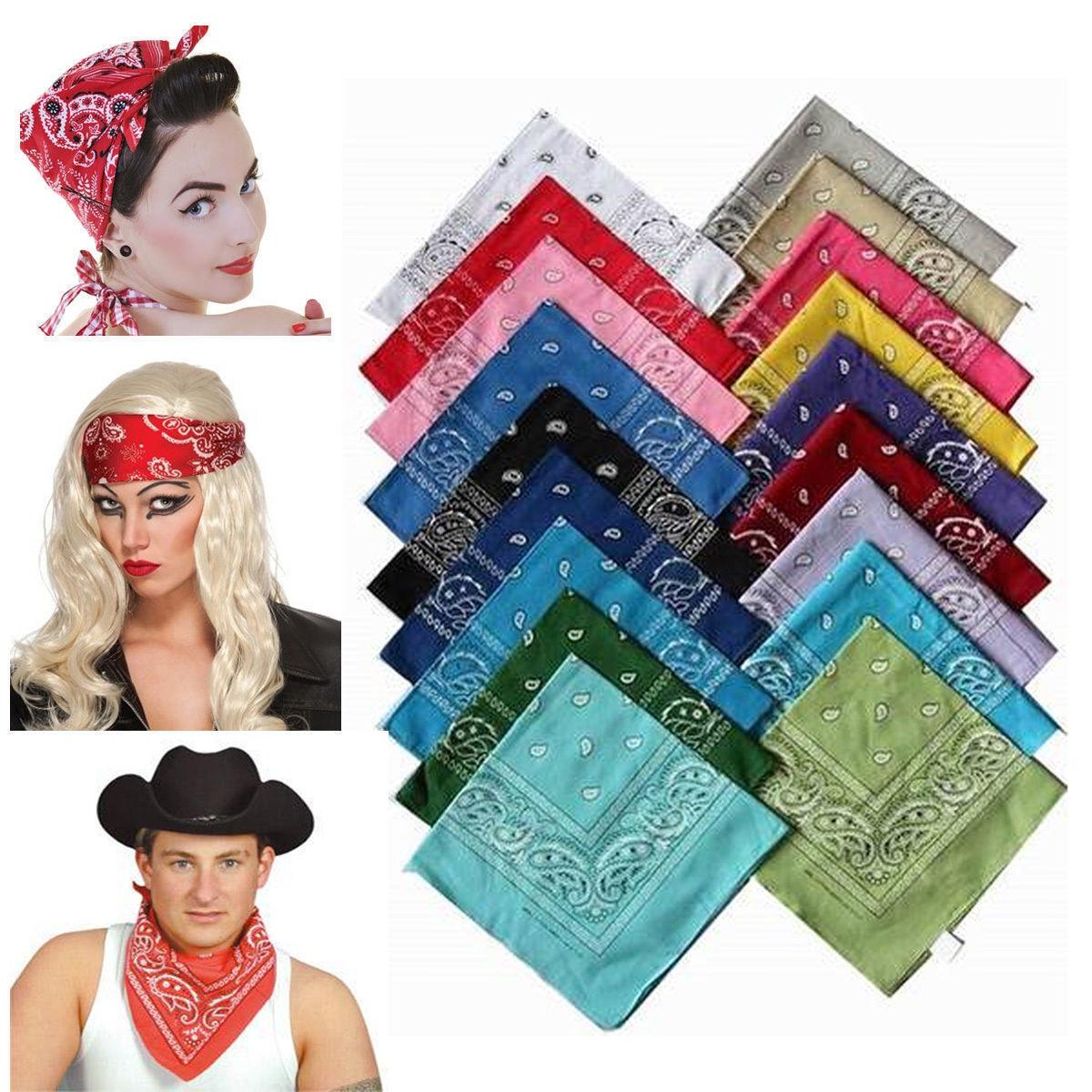 100/% Cotton Cow Boy Girl Biker Neck Scarf Head Bandanna Mix Colour Plain Bandana