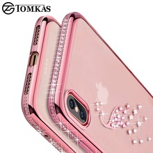 TOMKAS Glitter Bumper Case For iPhone X Case Silicone TPU Transparent Cover Cases For iPhone X 10 Phone Cases With Conque(China)