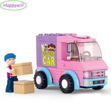 Happywill M38-B0520 Building Friends Blocks Of Dream Supermarket Delivery Courier Car Truck Children Toys
