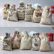 Random colors 9X12cm vintage wedding gift bag, promotional gift bag, linen cotton drawstring pouches(China)