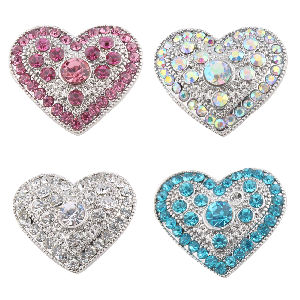 10Pcs/lot 18MM Snap Button Jewelry DIY Crystal Heart Pattern Xinnver snap Button Charms Fit Women Snap Bracelet Jewelry ZA252