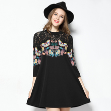 2017 spring new code women fat mm thin butterfly print lace three-point sleeve A word dress