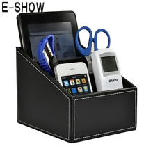 E-SHOW Luxury Pu Leather Remote Control/controller TV Guide/mail/CD Organizer/caddy/Toy/holder Home Organizer storage boxes bins(China)