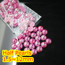 Jelly Rose AB Color 1.5mm~12mm All Size Choice Flat back ABS round Half Pearl beads, imitation plastic half pearl beads