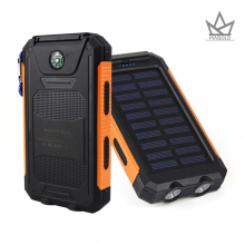 Solar Power Bank 8000mAh Dual USB Port Outdoor Waterproof Power Bank with Dual LED Light & compa Solar Charger for iPhone