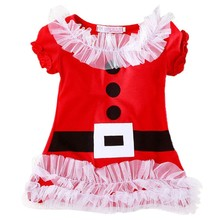 2017 New Christmas Dress For Girls Short Sleeve Santa Claus Dresses Kids Xmas Dresses 2-6T Lace Princess Dress costume outfits