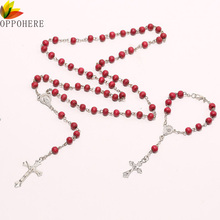 OPPOHERE Christ Religious Red Wooden Rosary Beads Chain Cross Necklace Bracelet Jewelry(China)