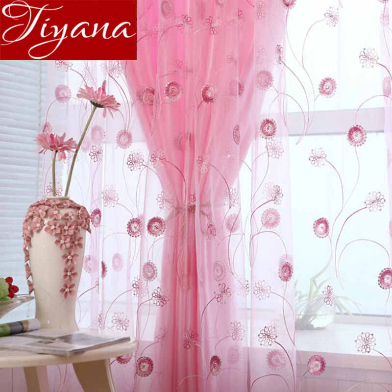 Shining Curtains For Girls Room Embroidered Voile Curtains Window Living Room Tulle Curtains Sheer Fabrics Cortinas T&255 #30