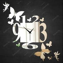 Saat DIY Wall Clock Clock Reloj Duvar Saati Wall Clocks Horloge Murale Relogio de parede Orologio da parete Home decor Butterfly(China)