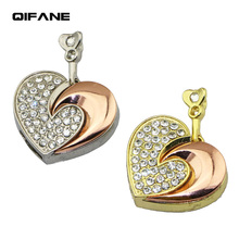 QIFANE 32GB 64G heart shaped crystal U Disk pen drive 4G 8G 16G Luxurious jewelry  USB Flash Drive memory stick Free shipping