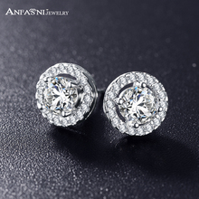 ANFASNI Romantic Jewelry 2016 Stud Earrings For Wedding Elegant Silver Color AAA Cubic Zirconia Stone Earring CER0002-B(China)