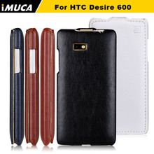 IMUCA Original Brand PU Leather vertical flip Cover For HTC Desire 600 606w dual sim case Mobile Phone Protective Cases