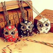Fashion retro colorful crystal owl pendant necklace unique charm gorgeous alloy oil drops necklace sweater chain jewelry