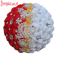 WifeLai-A Custom White Yellow Red Rose Flower Brooch Wedding Bouquets de noiva Crystal Wedding Bouquets Flowers W243-1(China)