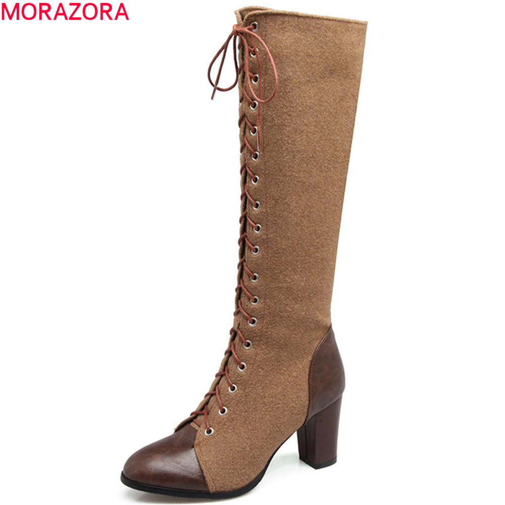 MORAZORA 2018 fashion new arrive women boots round toe ladies boots zipper cross tied flock knee high boots big size 33-44<br>
