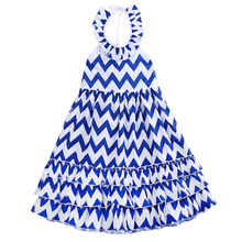 Fashion Kids Children Girls Dresses Blue & White Wavy Brief Striped Boho Maxi Party Dress New Summer 3 4 5 6 7 8 9Y(China)