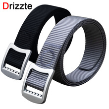 Drizzte Men's Plus Size 130 150cm Nylon Web Belt Free Adjust Metal Buckle Dress Casual Fashion Mens Wait Belt Black Siver