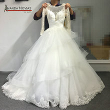 Middle-east Hot Sale Long Sleeve Lace Applique Layers Ball Gown Transparent Back Sexy Wedding Dress Turkey NS1833