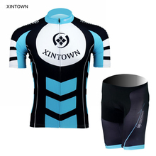 XINTOWN New Womens Sky Blue Short Sleeve Bike Ropa Ciclismo Wear Bicycle Cycling Jersey Shorts Suit Set S-4XL