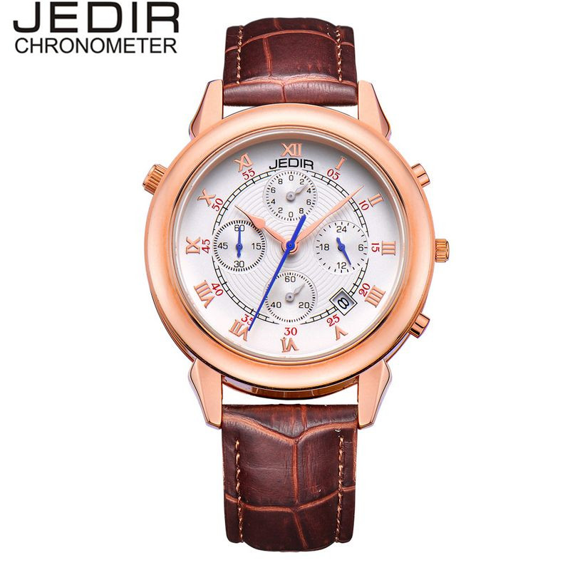 JEDIR Original Fashion Orologio Uomo Mens Quartz Day Stopwatch Watch PU Leather Wristwatch  Gift Box Free Ship<br><br>Aliexpress