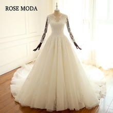 Buy Rose Moda Gorgeous Long Sleeves Wedding Dress 2018 Muslim Crystal Lace Wedding Dresses Ball Gown Long Train Real Photos for $339.00 in AliExpress store